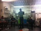 At the end of the course, we had a plenary tasting of all our brews. Here Mark is describing his IPA