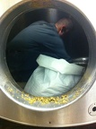 Mark cleaning the mash tun at a commercial brewery near Sunderland